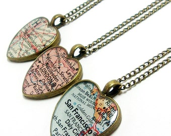 Brass map necklace etsy custom heart vintage map necklace you select location anywhere in the world one necklace personalized necklace travel necklace love gumiabroncs Choice Image