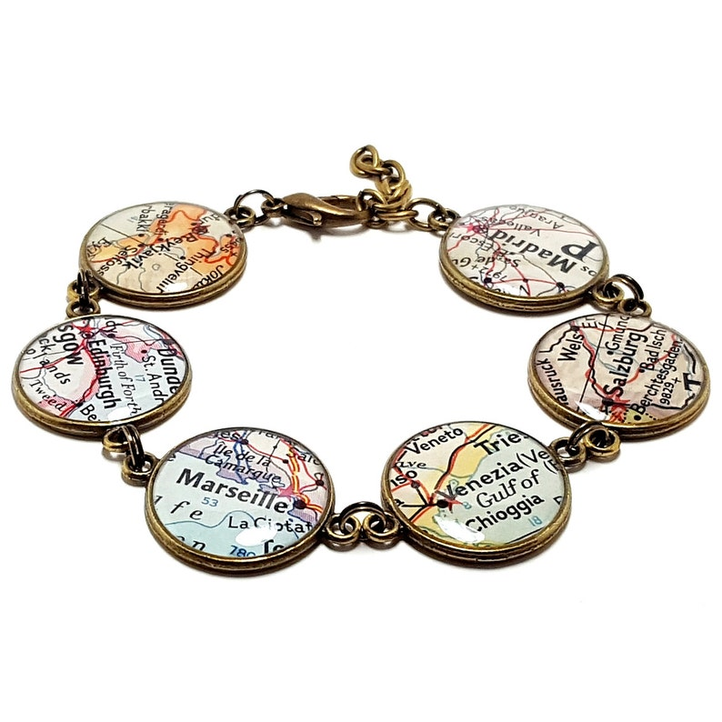 Custom Vintage Map Bracelet. You Select Six Worldwide. Map image 0