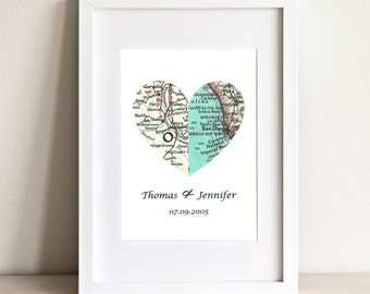 CUSTOM Half And Half Heart Map Art Print. Print Only NO Frame. You Select Two Cities Worldwide. Personalized Text. Wedding or Couples Gift