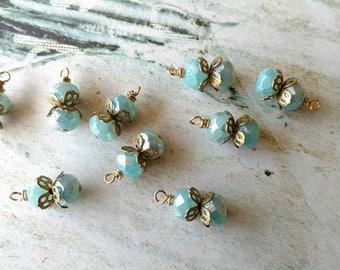 Blue Mercury like Glass Instant Earrings Relic Charm Bauble