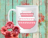 Pyrex Pink Daisy Stacking Bowls 15 oz Coffee Mug