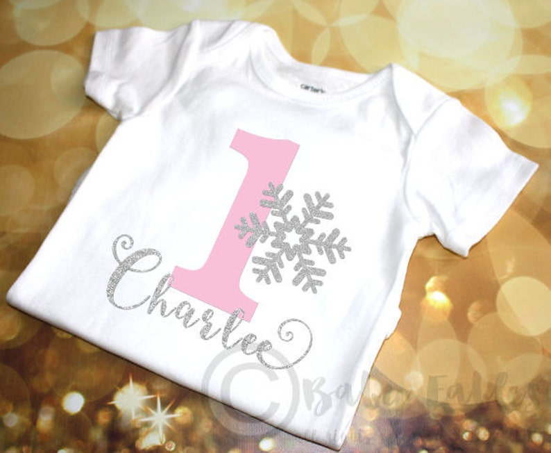 Personalized 1st Birthday Shirt Bodysuit Snowflake First