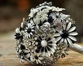 Wedding Bridal Brooch Bouquet - Black, White, Rhinestones with a pink frog