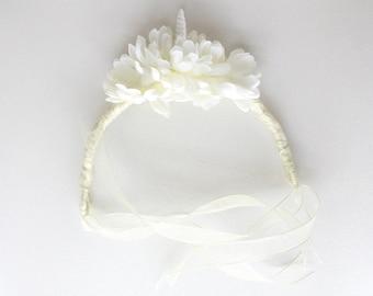 Unicorn and Dahlia Ivory Crown Headdress // one of a kind // wedding, renaissance, festival, everyday magic and fantasy