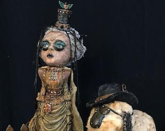 Little Bo Peep and Sheep No.8 - OOAK mixed media, steampunk, fantasy, fairytale altered art doll