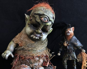 A Gift for the Ogre - OOAK mixed media, assemblage, found object,fantasy, altered art doll