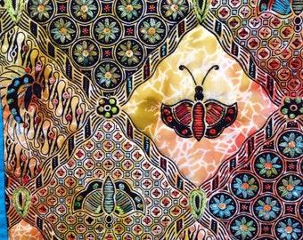 Batik Quilt, Small Quilted Batik Wall Art, Hand Stitched Wall Hanging, Small Art Quilt, Quiltsy Handmade