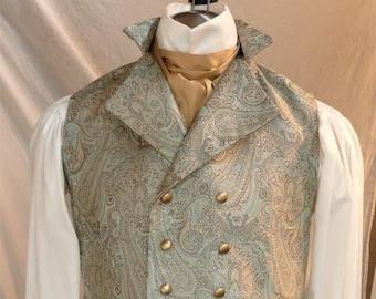 English Regency Double Breasted Vest Wedding Groom Waistcoat French Empire