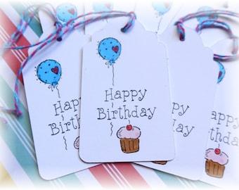 Happy Birthday - Balloon -  Cupcake - Gift/ Hang Tags (8)