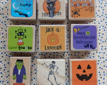 Sweet treats - Bump in the Night - Frankenstein - Smiling Jack O' Lantern - Halloween WM rubber stamp  (choose 1)