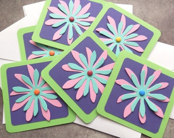 3x3  Note cards- Flowers -  Mini Note Cards with Envelopes (6)