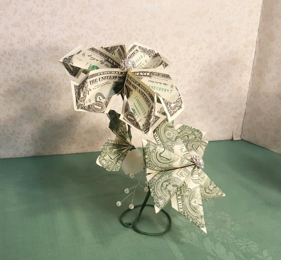 Origami money flower arrangement on one stem 8 one dollar etsy image 0 mightylinksfo