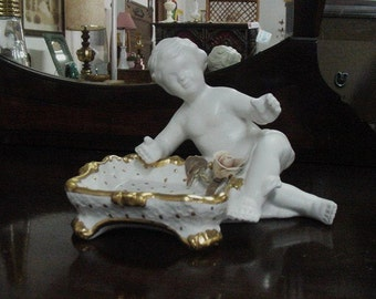 Vintage Jewelry Holder  Benrose Figurine with Square Tray White with gold accents