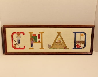 "Vintage Completed Cross Stitch Name Framed Wall Hanging  'CHAD'    7 1/2"" x 22"""