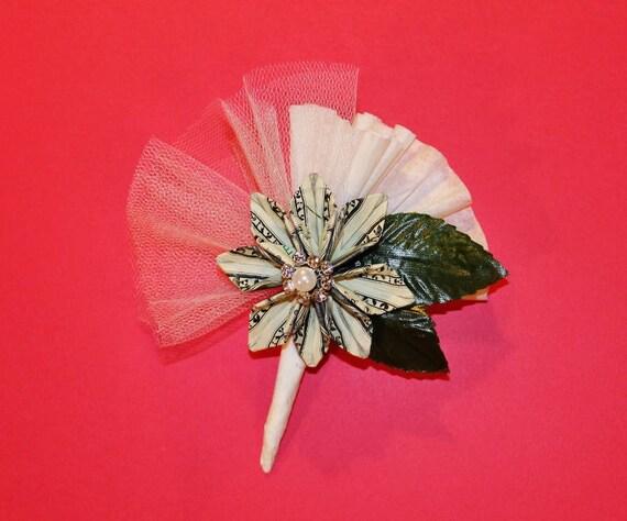 Origami money flower corsage blooming money etsy image 0 mightylinksfo