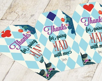 cce36f8ebb Alice in Wonderland Thank You Favor Tags Instant Download