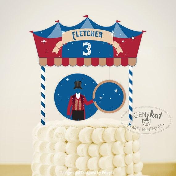 Printable Ringmaster Circus Birthday Cake Topper For Boys