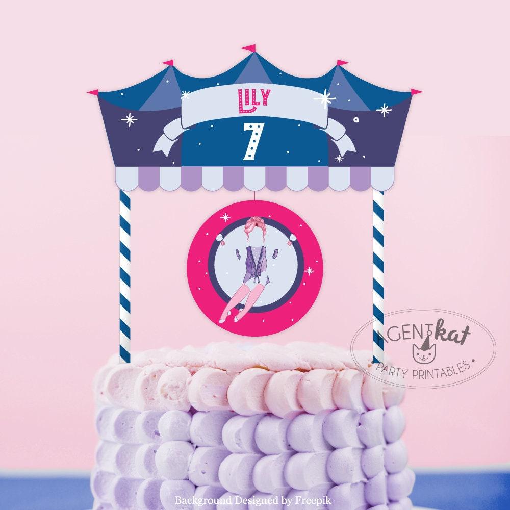 Printable Circus Trapeze Birthday Cake Topper Greatest Show