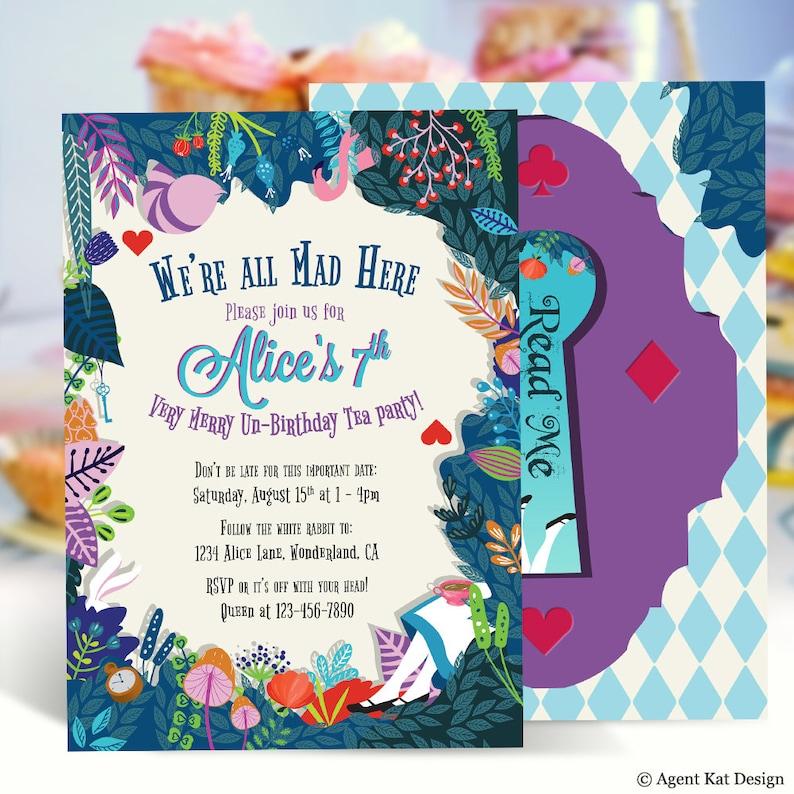Alice In Wonderland Invitation Birthday Invitation Garden Etsy