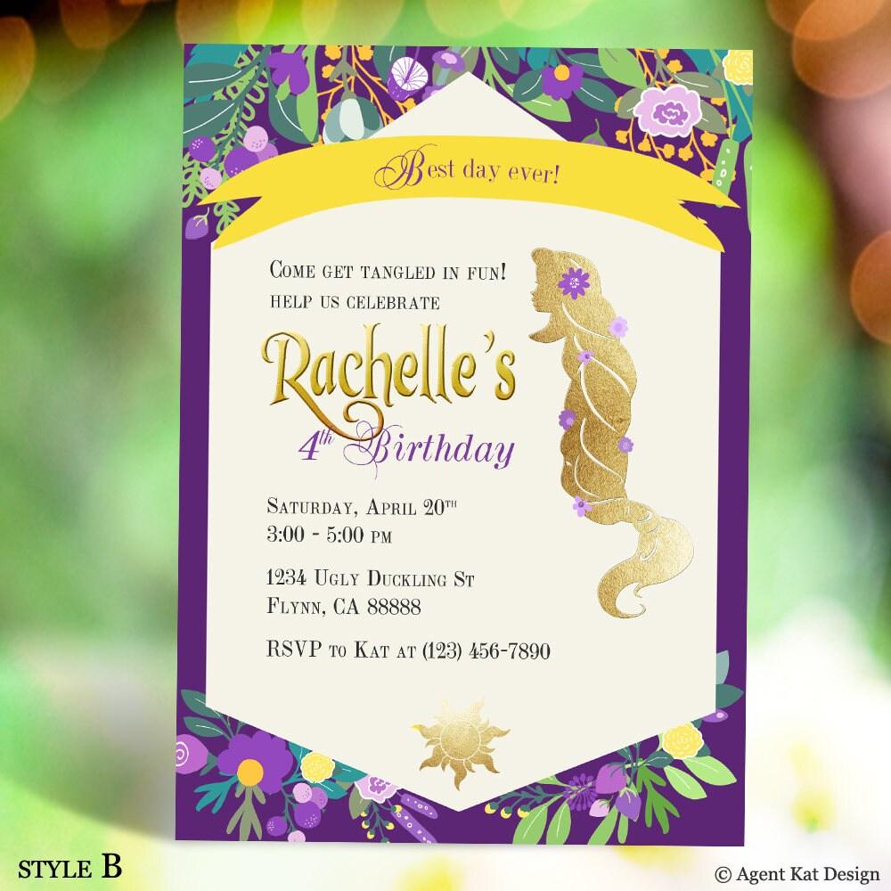 Princess Rapunzel Birthday Invitation Tangled Party   Etsy