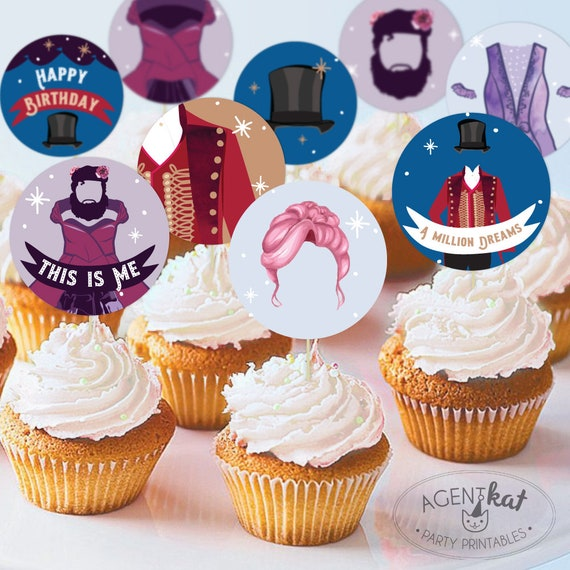 Instant Download Circus Birthday Cupcake Toppers Ringmaster