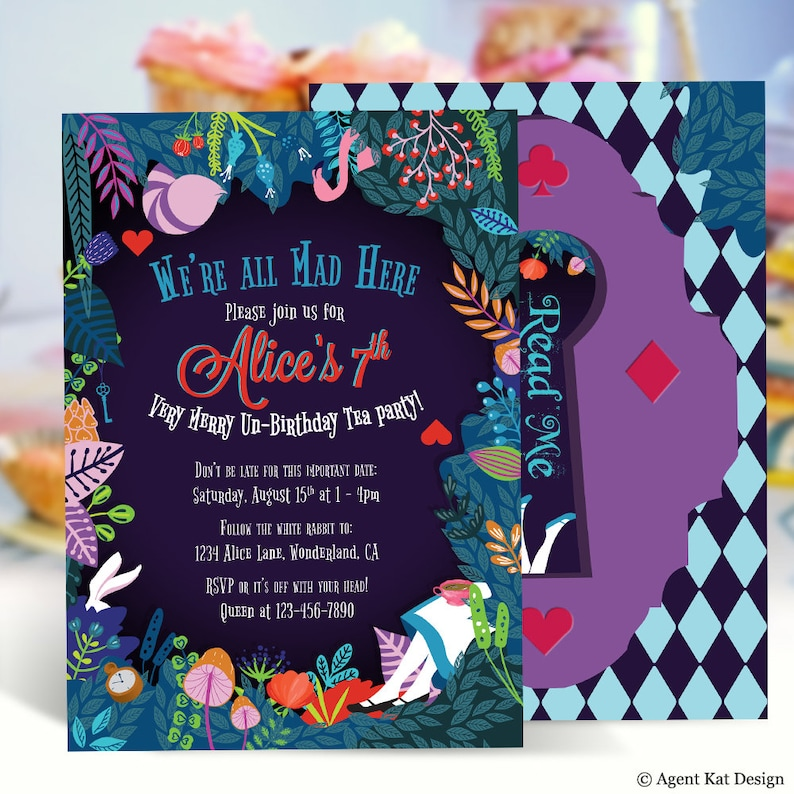 cbef03e965 Alice in Wonderland Invitation Dark Birthday Invitation