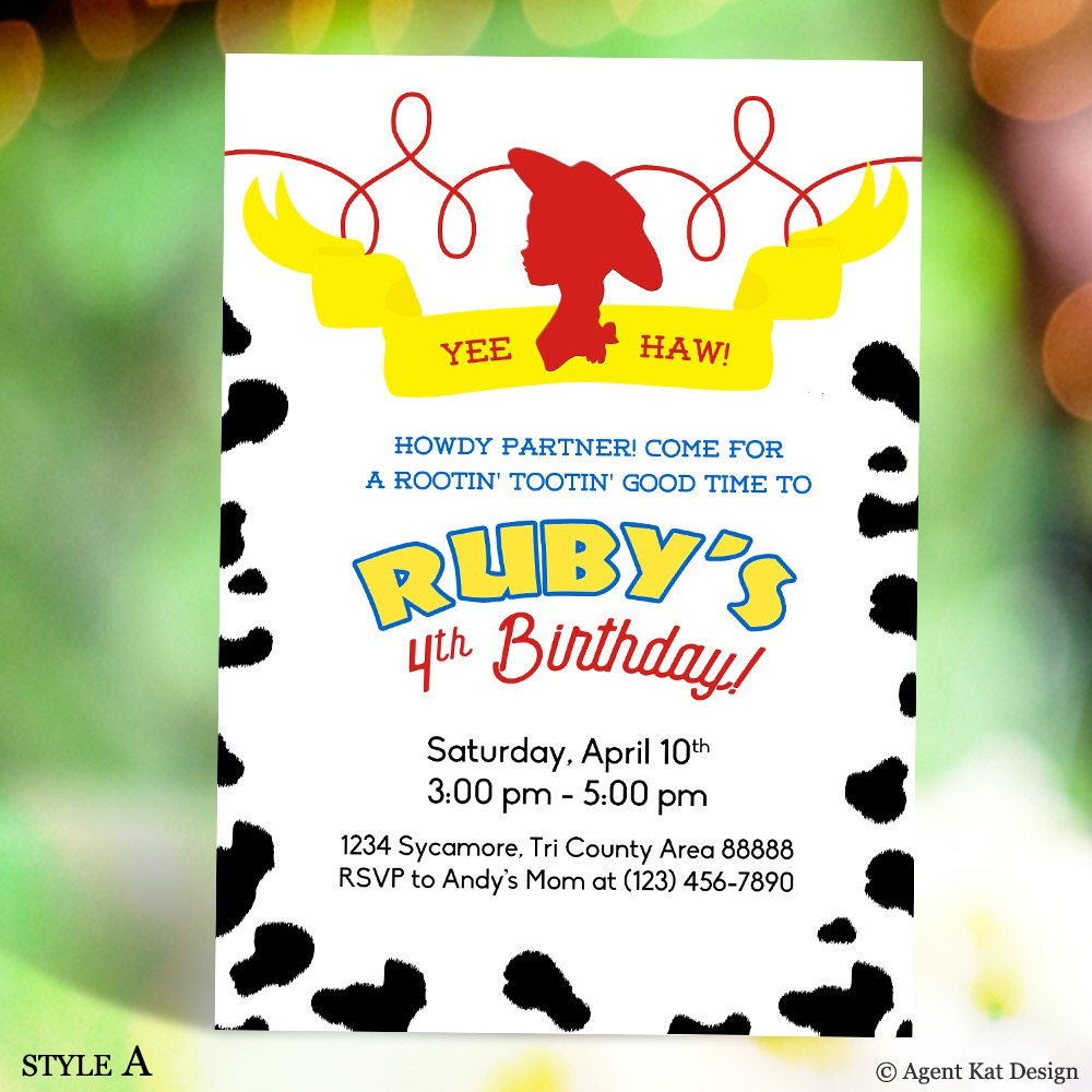 Toy Story Jessie Cowgirl Silhouette Birthday Invitation Cow | Etsy