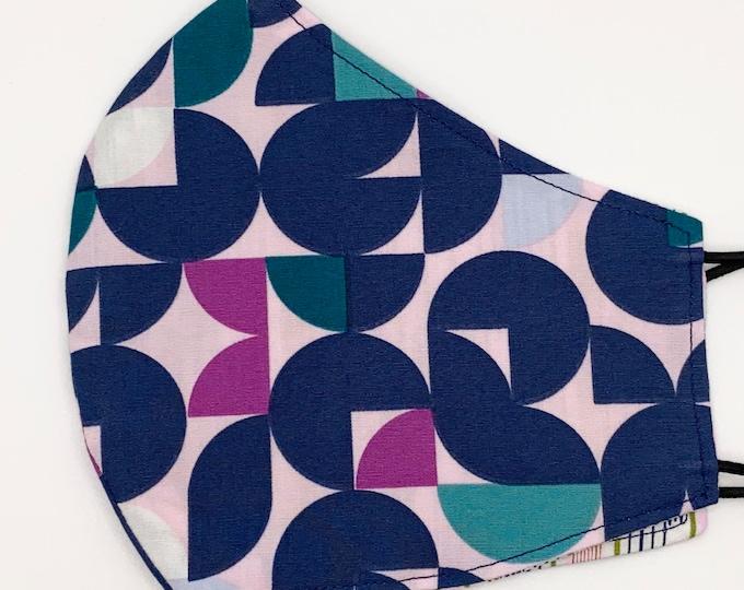 ADULT Mask - Geometric - Ikat - Pink - Navy - Fuchsia - Teal - Stylish - Southwest - Pretty - Feminine - Washable Reversible Reusable Fabric