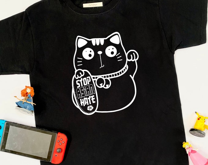 STOP ASIAN HATE Lucky Cat - Kids & Toddler Graphic Tshirt - Asian American - Equality - Political - Azn - Japanese - Chinese - Hapa - Resist