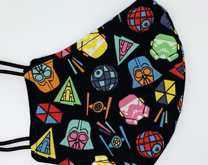 CHILD Mask - Star Wars - Darth Vader - Solid Black - Millennium Falcon - Unisex - Cool - Comfortable - Easy to Breathe - Reversible Mask