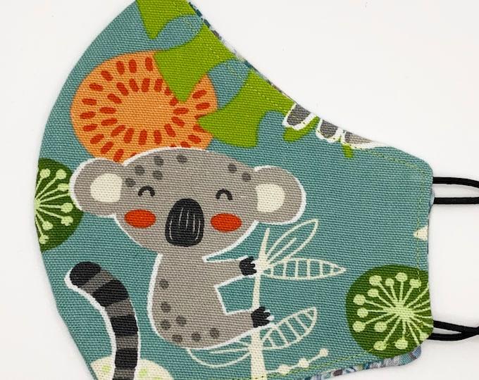 ADULT Mask - Koala - Ikat - Jungle Leaves - Animals - Cute - Nature - Fun - Stylish - Australia - Washable Reversible Reusable Fabric