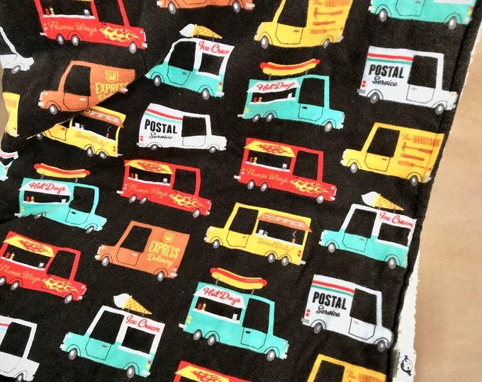 Celebrate Working Trucks Large Flannel Blanket - Postal Truck, Parcel Truck, Ice Cream Truck, Hot Dog Truck, Food Truck