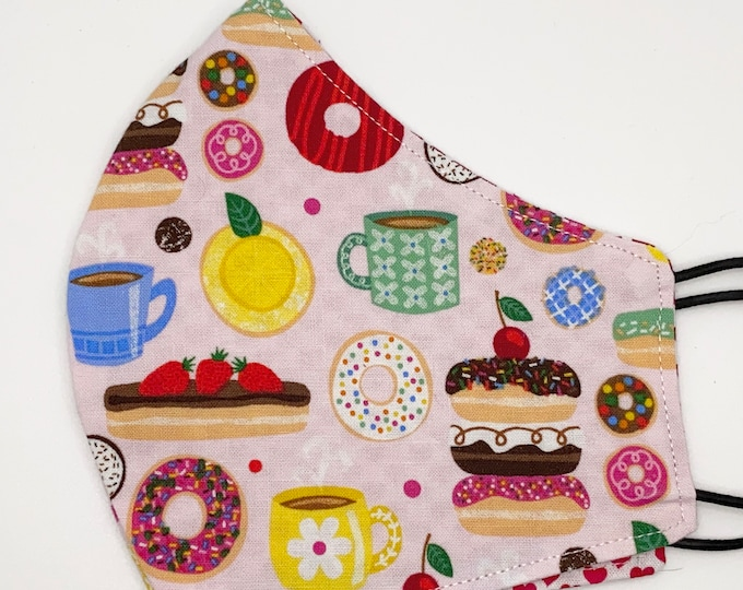 ADULT Mask - Donuts - Red Hearts - Breakfast - Coffee - Sprinkles - Food - Dessert - Sweets - Eclaire - Washable Reversible Reusable Fabric