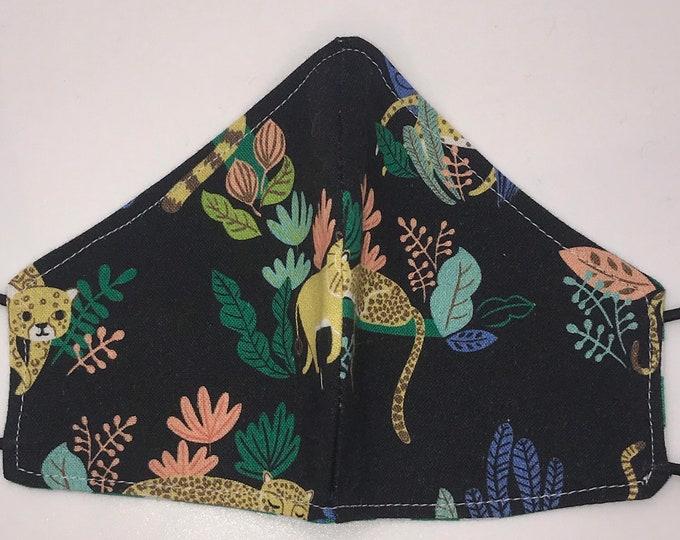 TODDLER Mask - Tiger and Lions - Big Cats - Cheetah Leopard - Safari - Kids Mask - Washable Reversible Fabric Mask