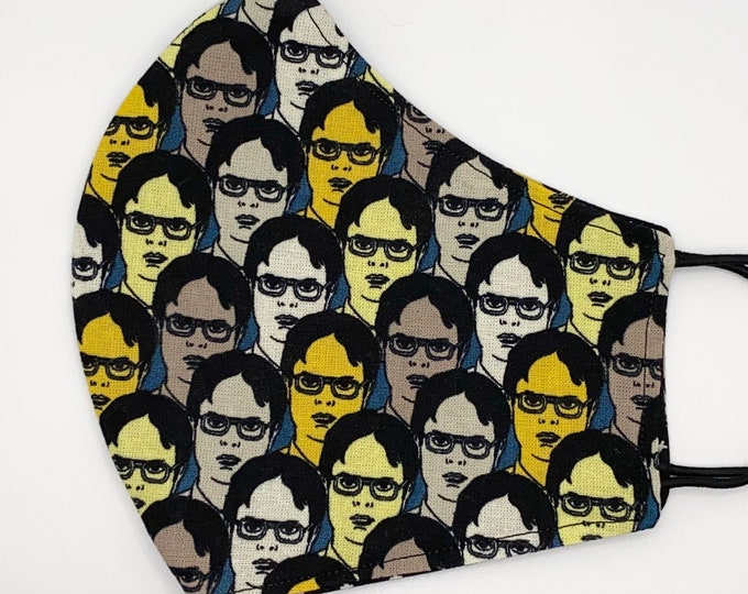 ADULT Mask - Dwight Schrute - The Office - Rainn Wilson - Dunder Mifflin - Scranton - Comfortable - Washable Reversible Reusable Fabric