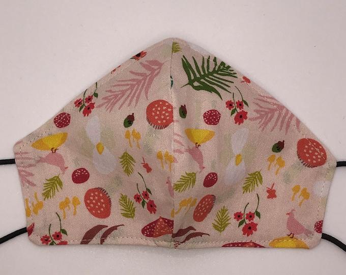 TODDLER Mask - Woodland - Forest - Pink - Mushroom - Mouse - Woodgrain - Kids Mask - Washable Reversible Fabric Mask