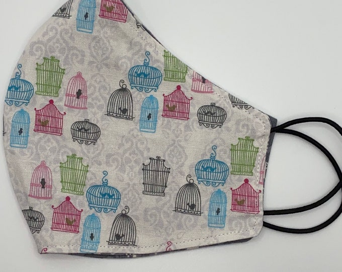 ADULT Mask - Gray Pink - Birds in Woods - Trees - Whimsy - Bird Cages - Pastel - Washable Reversible Reusable Fabric