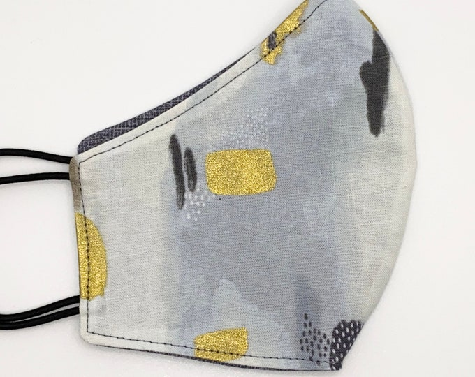 CHILD Mask - 80s Abstract - Gold - Gray - Painted - Artistic - Watercolor - Stylish - Kids Washable Reversible Reusable Fabric