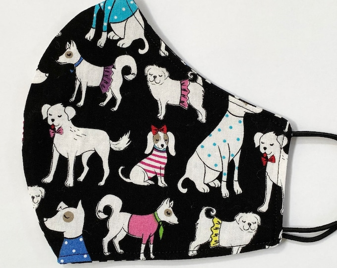 ADULT Mask - Dressed Up Dogs - Dogs in Clothes - Black Mask - Polkadots - Funny - Cute - Dog Walker - Groomer - Comfortable - Reversible