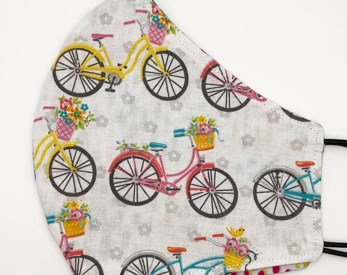 ADULT Mask - Bicycle Basket - Rainbow Paint - Flowers - Bright - Garden - Feminine - Pretty - Kids - Washable Reversible Reusable Fabric