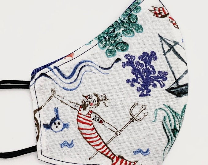 CHILD Mask - Merman - Pirate - Ocean - Octopus - Ship - Nautical - Boys - Kids - Cute  - Fairytale - Washable Reversible Reusable Fabric