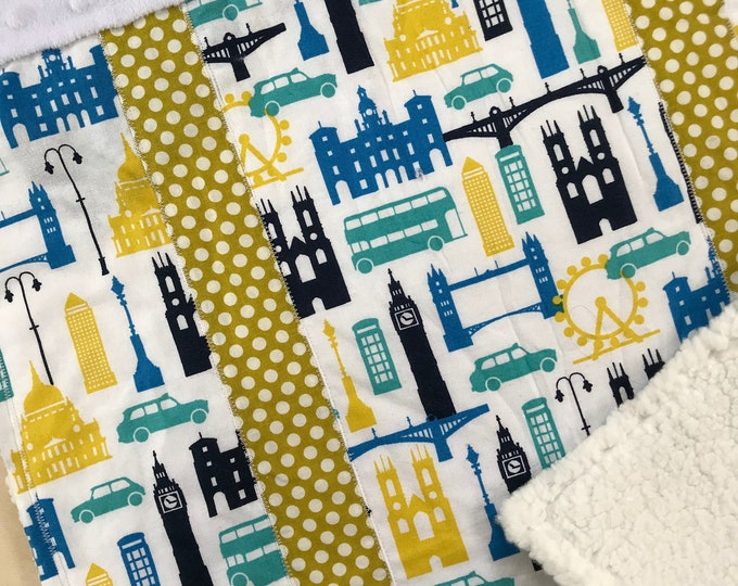 London Monuments Carseat Blanket in Blues and Greens
