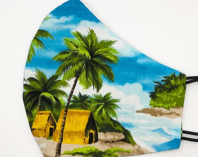 ADULT Mask - Blue Hawaiian Shirt - Pacific Islander - Ocean Fishing - Turtle - Hula - Surf - Mens - Washable Reversible Reusable Fabric