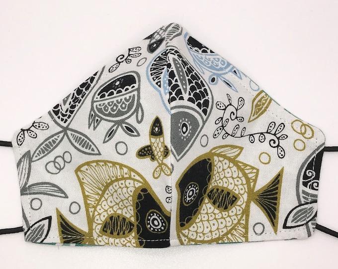 TODDLER Mask - Fish - Ocean - Green Rainbows - Unisex - Cute Mask - Washable Reversible Reusable Fabric