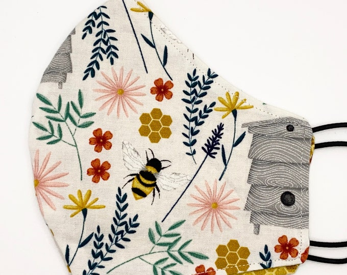 ADULT Mask - Honey Bees - Bee Keeper - Honeycomb  - Flowers - Farm - Country - Honey - Cute - Stylish - Washable Reversible Reusable Fabric