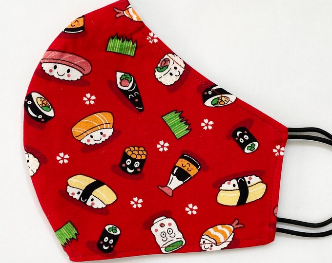 ADULT Mask - Red Sushi - Kawaii Cartoon - Tokidoki - Japanese - Soy Sauce - Stop Asian Hate - AAPI - Comfortable - Easy to Breathe - Tobiko