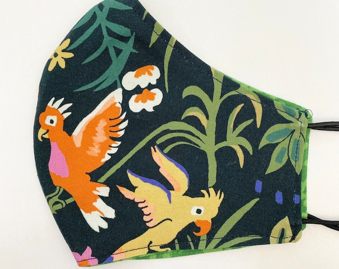 ADULT Mask - Parakeets - Jungle Floral - Orchids - Green - Navy- Comfy - Pretty - Flowers - Leaves - Reversible - Mother's Day - Birds