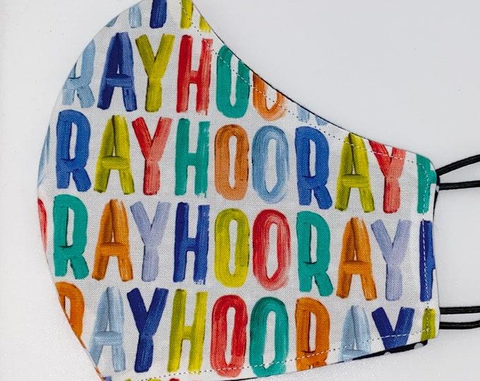 ADULT Mask - Hooray - Celebration - Reversible - Polkadot - Birthday Mask - Favor Bag - Rainbow - Unique Gift - Comfortable Easy to Breathe