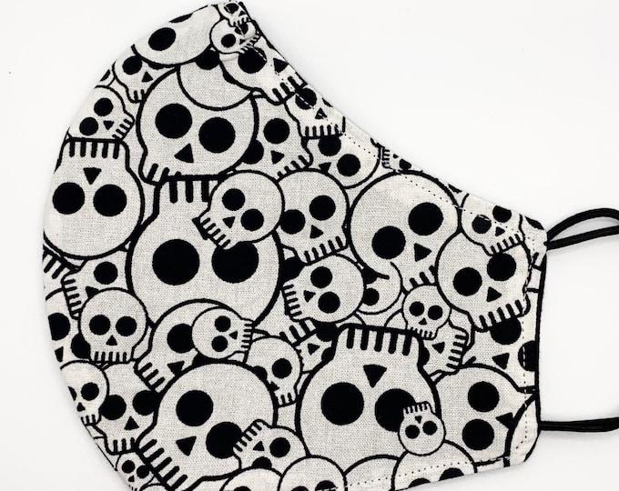 ADULT Mask - Skull Collage - Black and White - Solid Black - Unisex - Halloween - Skeleton - Skulls - Washable Reversible Reusable Fabric