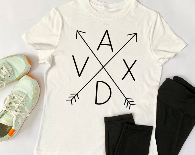VAXD Arrows - Modern - Vacc'ed - Vaxxed - Women's Fitted Shirt - Short Sleeve - Graphic Tee - Vaccine - Goodbye Covid - I Got Vaccinated
